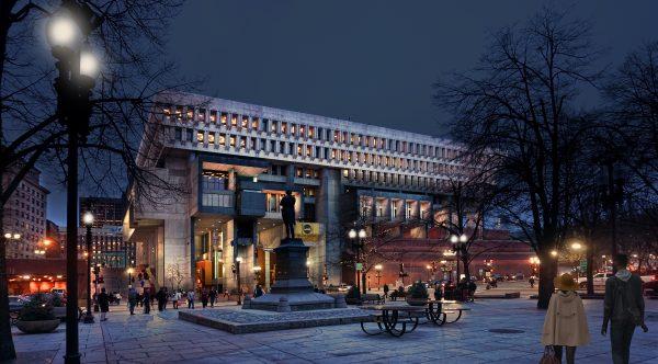 Boston City Hall Exterior Lighting After