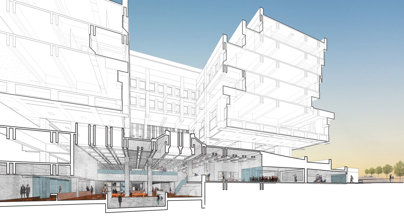 hall plan boston plaza master study architecture planning urban rethink section lobby renovation academic interiors utiledesign