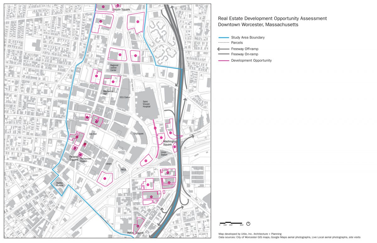 Worcester city center map on