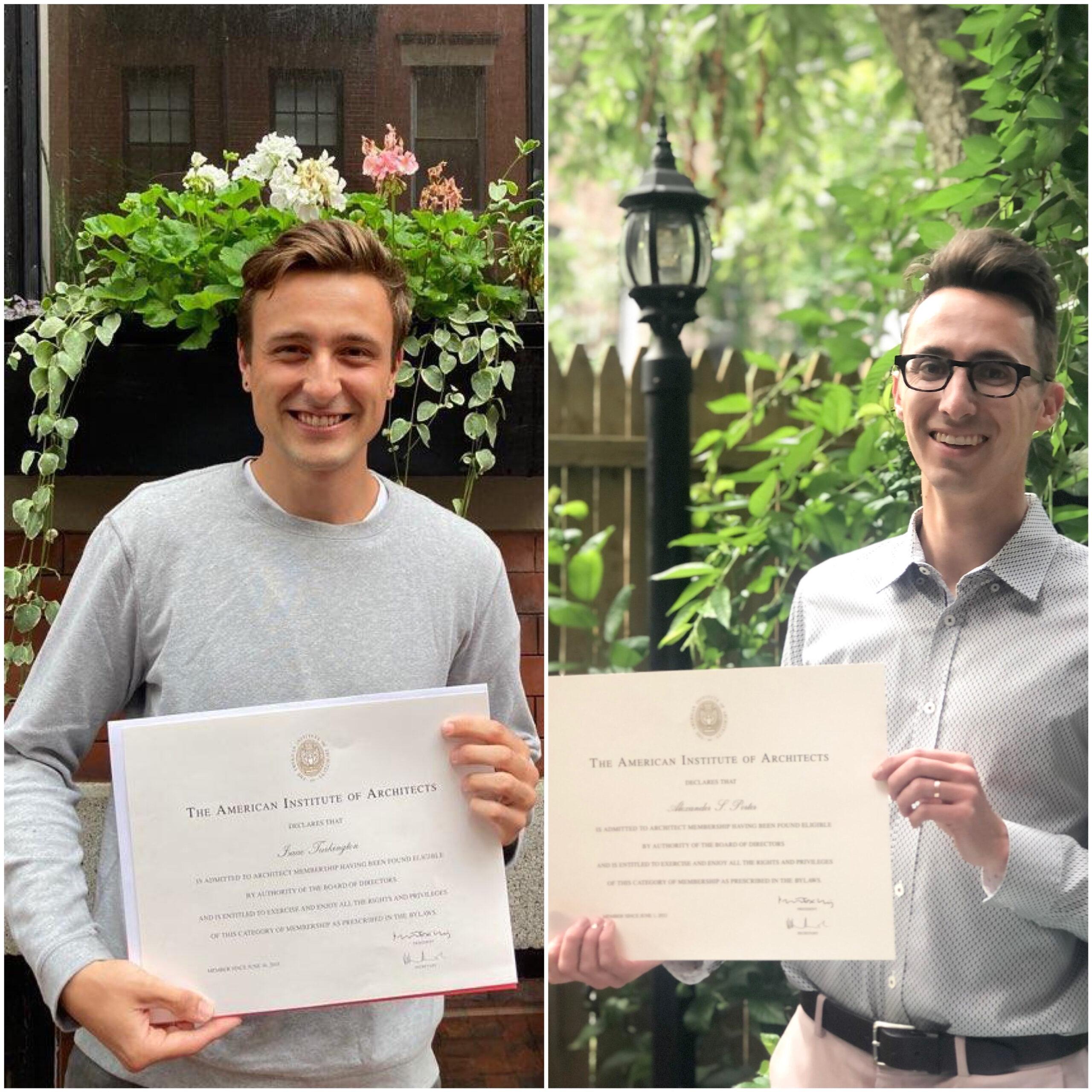 Isaac Turkington and Alexander Porter receive architectural license